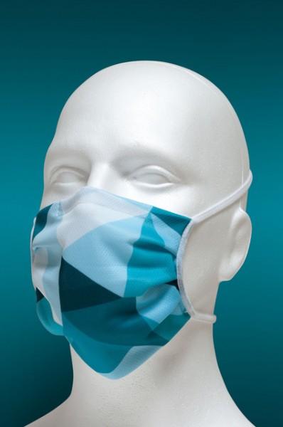 Mund-Nasen-Maske mit Nasenbügel 2-lagig (Erwachsene) von Hyphen, mit blauen Dreiecken mit UPF 80