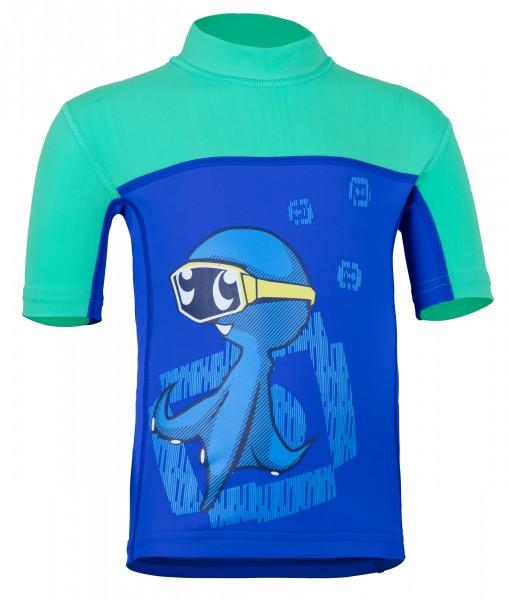 Kinder Kurzarmshirt 'ocy's dive bermuda / cobalt' mit UPF 80 von Hyphen