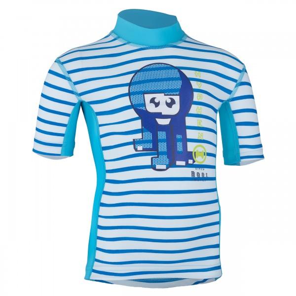 Kinder-Kurzarmshirt 'okili striped cielo/moliki azur'