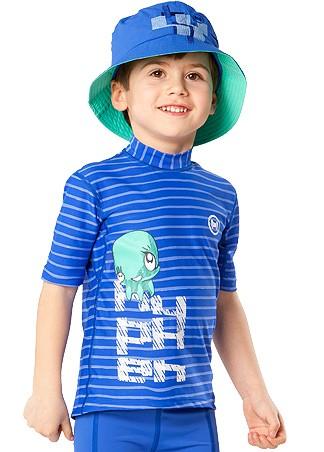 UV Sonnenschutz Kurzarmshirt 'ocy nor striped cobalt' für Kinder mit UPF 80 von hyphen