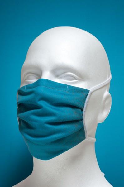 Mund-Nasen-Maske mit Nasenbügel 2-lagig (Erwachsene) von Hyphen,türkis mit UPF 80