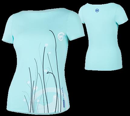 UV Sonnenschutz Kurzarmshirt 'swing caribic' für Frauen mit UPF 80 von hyphen
