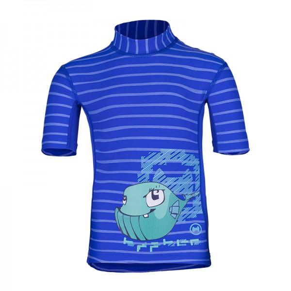 UV Sonnenschutz Kurzarmshirt 'wali lu striped cobalt' für Kinder mit UPF 80 von hyphen
