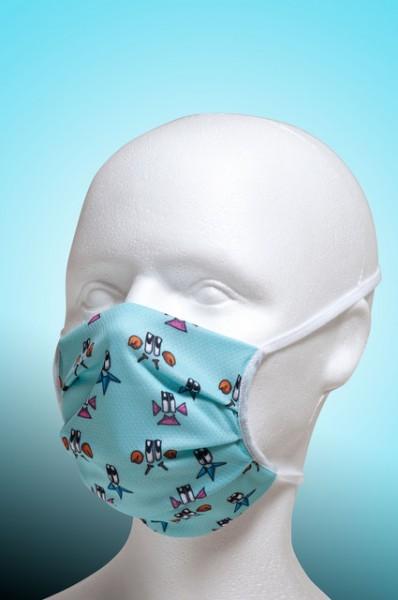 Mund-Nase-Maske Kinder mit Nasenbügel 2-lagig von Hyphen in der hellblau bedruckt mit UPF 80