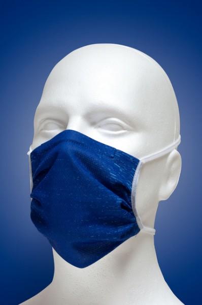 Mund-Nasen-Maske mit Nasenbügel 2-lagig (Erwachsene) von Hyphen,blau mit UPF 80