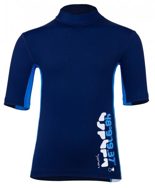 Kinder Kurzarmshirt 'coo blue iris / cielo / white' mit UPF 80 von Hyphen