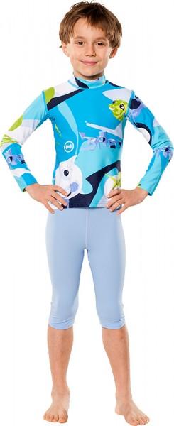 UV Sonnenschutz Langarmshirt 'waterworld azur' für Kinder mit UPF 80 von hyphen in diversen Grössen