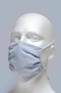 Mund-Nasen-Maske mit Nasenbügel 2-lagig (Erwachsene) von Hyphen, Grau mit weissen Punkten mit UPF 80
