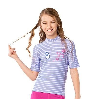 UV Sonnenschutz Kurzarmshirt 'bright eyes striped lave' für Kinder mit UPF 80 von hyphen