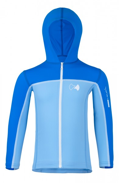 UV Sonnenschutz Kapuzenjacke mit RV 'cielo / pid blue' für Kinder. UPF 80, UV Standard 801, Marke hyphen,